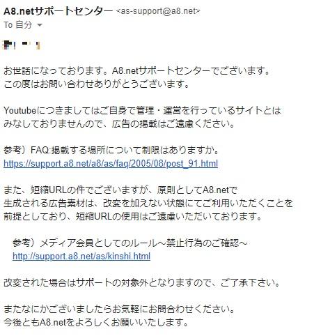 A8netへの短縮URLに関する問い合わせ