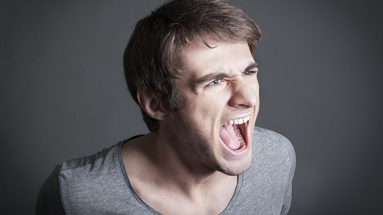 男、叫ぶ、イラつき、ストレス